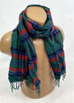Шарф стильный. зеленый клетчатый funo, wool, отл сост