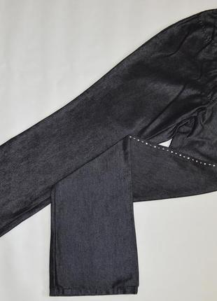 Брендовые женские черные коттоновые джинсы брюки со стразами n...