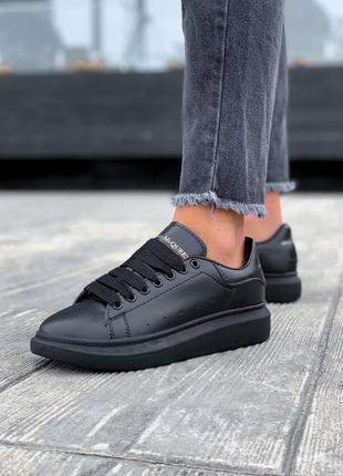 Alexander mcqueen black шикарные женские кроссовки александр м...