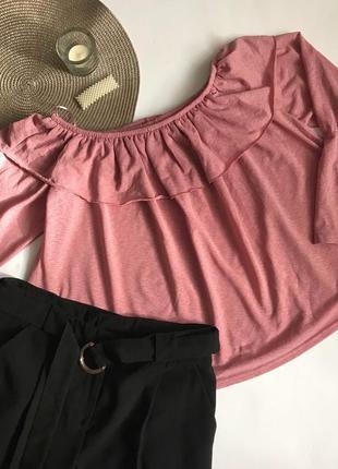 Розовая блуза с открытыми плечами primark