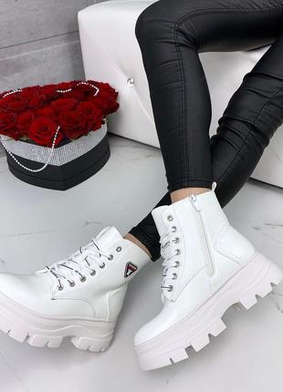 ❤ женские белые весенние демисезонные ботинки ботильоны на фли...