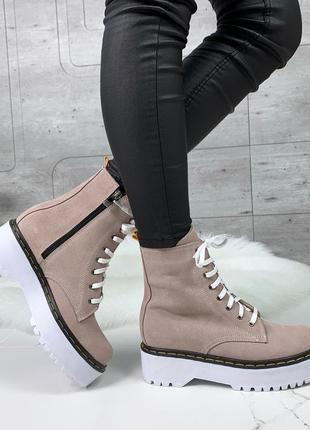 ❤ женские пудровые весенние демисезонные замшевые ботинки боти...