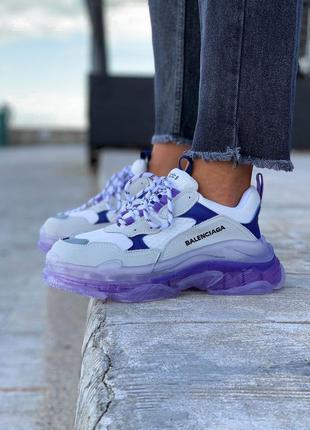 Balenciaga triple s purple/white  шикарные женские кроссовки б...