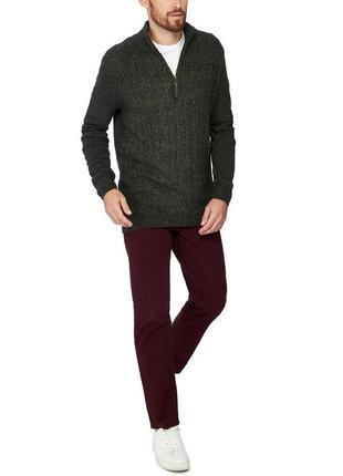Брендовый зеленый мужской теплый свитер кофта джемпер debenham...