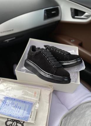 Alexander mcqueen black suede шикарные женские кроссовки замш ...