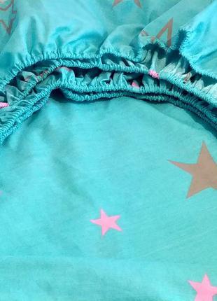 Двуспальная простынь на резинке из бязи gold lux - звезды, все...