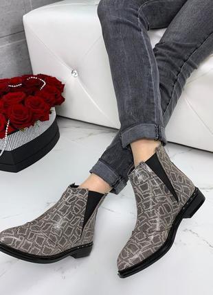 ❤ женские весенние демисезонные кожаные ботинки ботильоны на б...