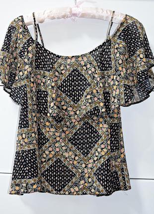 Шикарная шифоновая блузочка в цветочный принт с открытыми плеч...