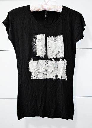Классная стрейчевая футболочка с серебряным принтом i love you...