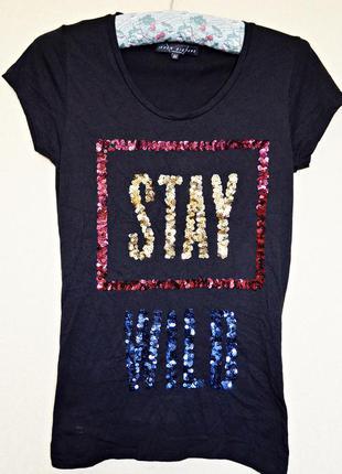 Крутая футболочка с принтом из паеток, очень красиво сделано, ...