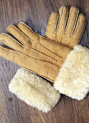 Очень теплые перчатки из натуральной замши и овчины, снаружи и...