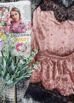 Персиковая пижама с кружевами.сексуальная велюровая пижама шор...