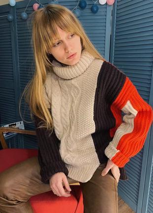 Комбинированный свитер оверсайз от zara