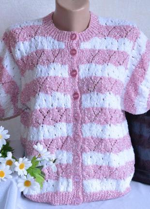 Брендовая белая вязаная теплая кофта свитер в розовую полоску ...
