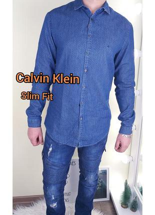 Calvin klein slim fit 40/m джинсовая рубашка в мелкий горошек