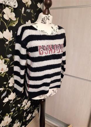 Полосатая кофта с буквами и паетками, свитер
