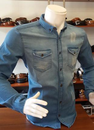 Мужская джинсовая рубашка! последний размер по супер цене