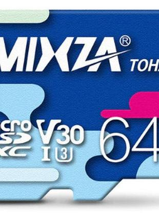 MicroSD Карта памяти 64 ГБ Mixza Micro SD 64GB U3 80MB/S SDHC