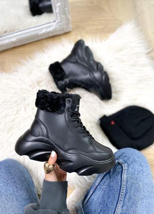 Зимние ботинки черные