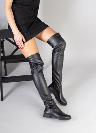 Женские сапоги чулки черного цвета из натуральной кожи