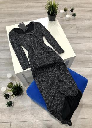 Платье гольф миди с разрезом, обтягивающее трикотажное платье ...