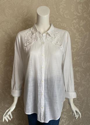 Abercrombie and fitch белая рубашка с кружевом oversize