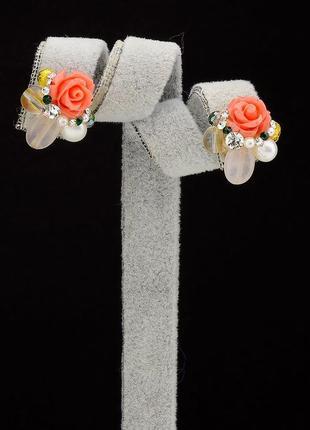 Серьги 'hand made' коралл 0449730
