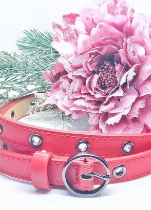 Красный кожаный женский ремень винтаж премиум