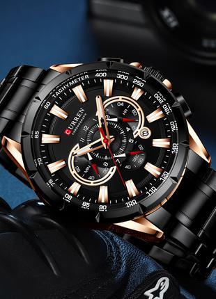 Часы мужские кварцевые Curren 8363 Black-Cuprum
