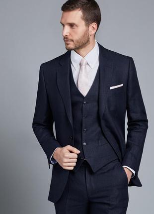 Брендовый темно-синий шерстяной пиджак жакет блейзер с кармана...