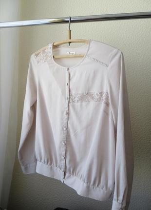 Винтажная бежевая блузка