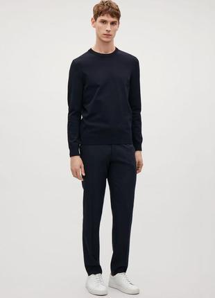 Cos мужские  шерстяные брюки темно-синего цвета