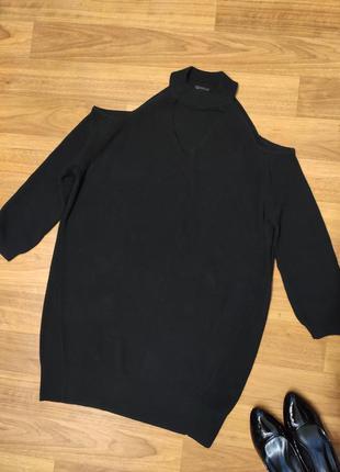 River island чёрное вязаное платье с открытыми плечами, размер М
