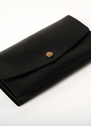 Кожаный клатч «nice black» черный (18,5x10,5 см) ручной работы...