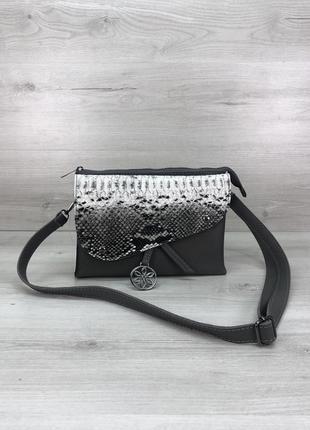 Женская сумочка клатч кросс-боди серая змеиная