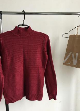 Стильный свитер свитерок джемпер марсала в стиле zara