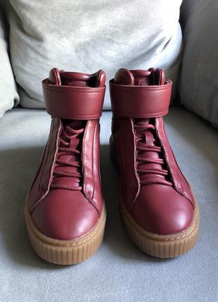 Новые кожаные ботинки, высокие кроссовки, хайтопы puma {оригинал}