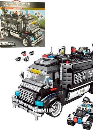 Конструктор Sembo 102477 City Полицейский фургон - штаб 1164 дет