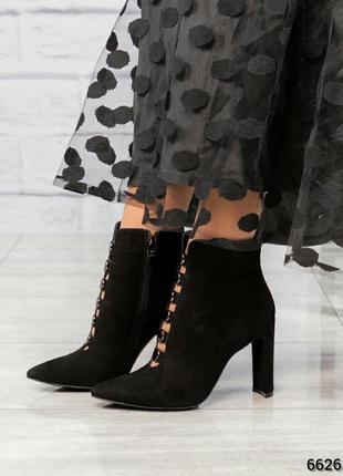❤ женские черные весенние демисезонные замшевые ботинки ботиль...