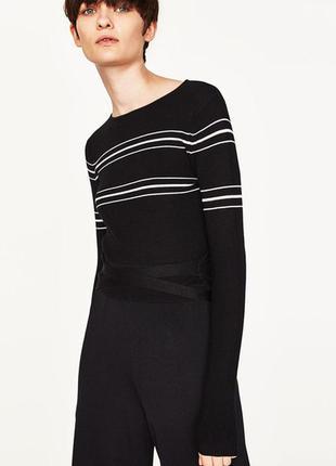 Короткий полосатый свитер zara