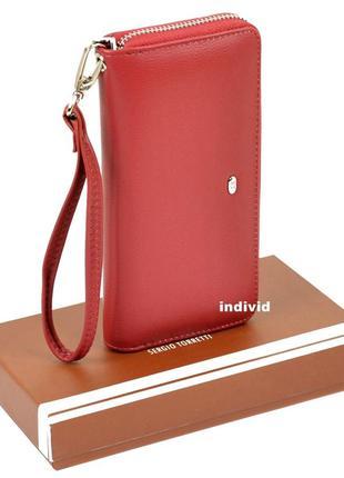 Женский кожаный клатч в коробке. красный кошелек классика. кож...