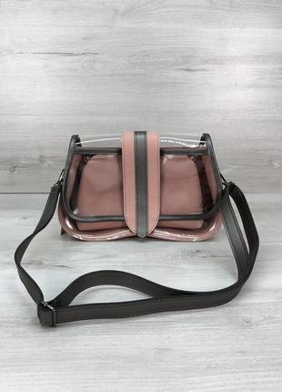 Набор 2в1 прозрачная сумка с косметичкой пудровая