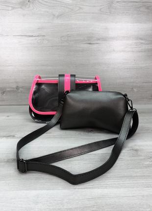 Набор 2в1 прозрачная сумка с косметичкой металлик с розовым