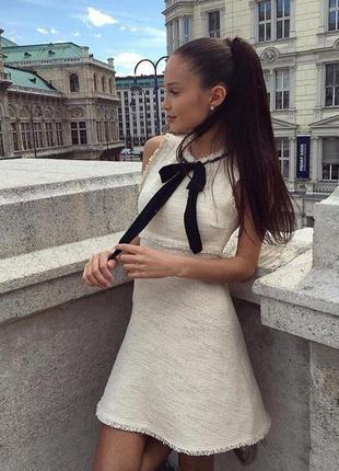 Zara плаття трапеція твид з бантом бежеве молочне