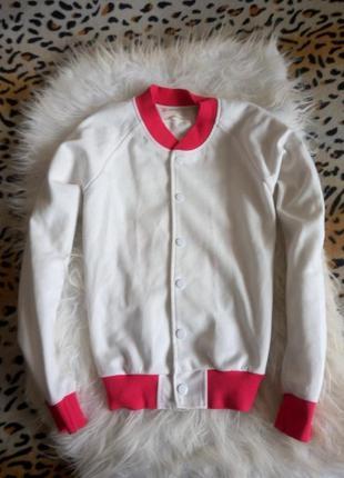 Яркий бомбер свитшот с принтом рисунком на спине белый розовый...