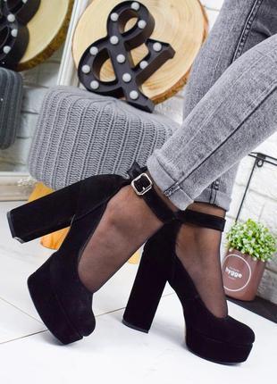 ❤ женские черные замшевые туфли на высоком каблуке ❤