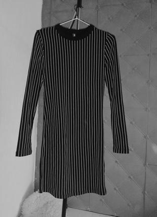 Прямое платье  zara в полоску s
