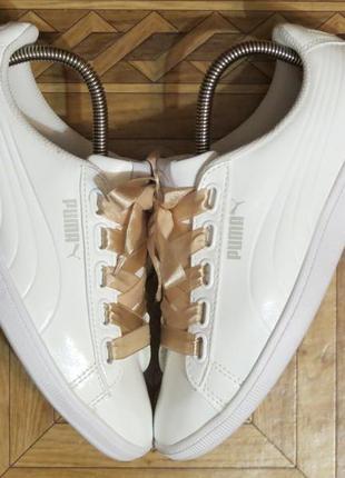 Белые кроссовки puma basket heart vikky ribbon{оригинал}р.38