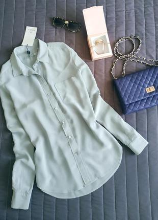 Шёлковая рубашка, классика (100% шелк) серебро
