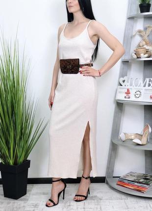 Платье сарафан в рубчик миди базовое база bershka